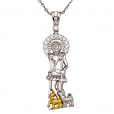 Sterling Silver Two-Toned Saint Lazarus Pendant Necklace with CZ - GMP00009RG