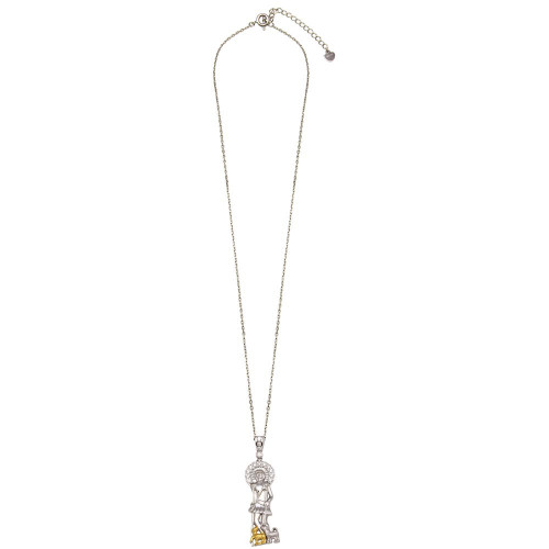 Wholesale Sterling Silver 925 Two-Toned Saint Lazarus Pendant Necklace with CZ - GMP00009RG