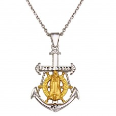 Sterling Silver Two-Toned Virgin Mary Anchor Pendant Necklace - GM00010RG