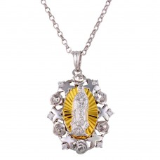 Wholesale Sterling Silver 925 Two-Toned Guadalupe Necklace with CZ - GMP00011RG