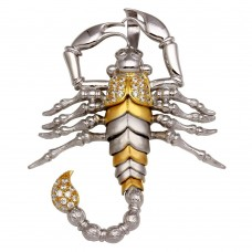 Wholesale Sterling Silver 925 Two-Toned Scorpion Pendant with CZ ** Pendant Only ** - GMP00013RG