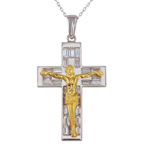 Wholesale Sterling Silver 925 Two-Toned Crucifix Necklace - GMP00018RG
