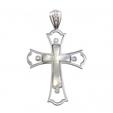 Wholesale Sterling Silver 925 Rhodium Plated Mother of Pearl CZ Cross Pendant - GMP00029