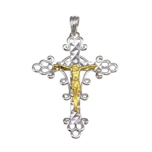 Wholesale Sterling Silver 925 2 Toned Plated DC Cross Pendant - GMP00031RG