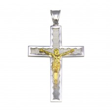 Wholesale Sterling Silver 925 2 Toned Plated DC Cross Pendant - GMP00032RG