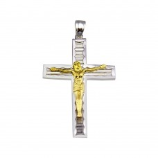 Wholesale Sterling Silver 925 2 Toned Plated DC Cross Pendant - GMP00034RG