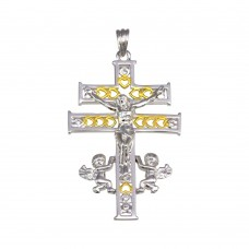 Wholesale Sterling Silver 925 2 Toned Plated Patriarchal Cross Pendant - GMP00036RG