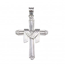 Wholesale Sterling Silver 925 Rhodium Plated Cloth Cross Pendant - GMP00037