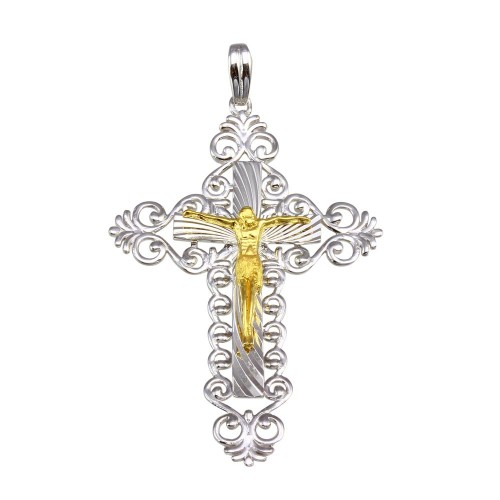 Wholesale Sterling Silver 925 2 Toned Plated Double Cross Pendant - GMP00038RG