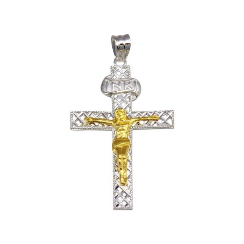 Wholesale Sterling Silver 925 2 Toned Plated DC Cross Pendant - GMP00041RG