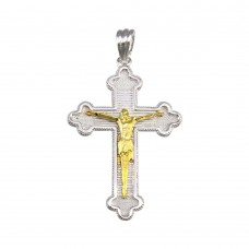 Wholesale Sterling Silver 925 2 Toned Plated Cross Pendant - GMP00044RG