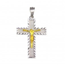 Wholesale Sterling Silver 925 2 Toned Plated DC Border Cross Pendant - GMP00045RG