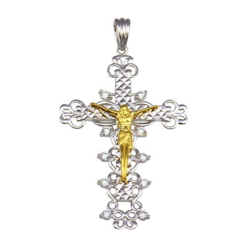 Wholesale Sterling Silver 925 2 Toned Plated CZ Cross Pendant - GMP00046RG