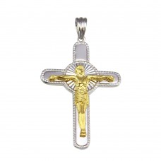 Wholesale Sterling Silver 925 2 Toned Plated DC Crucifix Cross Pendant - GMP00049RG