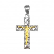 Wholesale Sterling Silver 925 2 Toned Plated DC Crucifix Cross Pendant - GMP00050RG