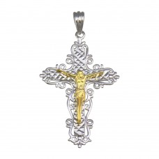 Wholesale Sterling Silver 925 2 Toned Plated Crucifix Cross Pendant - GMP00051RG