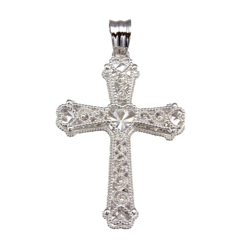 Wholesale Sterling Silver 925 Rhodium Plated Heart Center Cross Pendant - GMP00052
