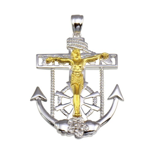 Wholesale Sterling Silver 925 2 Toned Plated Mariner Anchor Cross Pendant - GMP00055RG