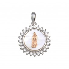 Wholesale Sterling Silver 925 Rhodium Plated Synthetic MOP Two-Toned Virgin Mary Medallion Pendant - GMP00056RHR