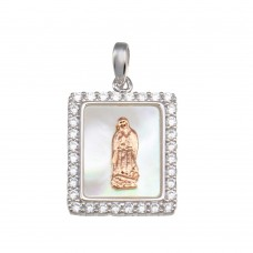 Wholesale Sterling Silver 925 Synthetic Mother of Pearl Two-Toned Virgin Mary Rectangle Medallion Pendant - GMP00057RHR