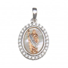 Wholesale Sterling Silver 925 Synthetic Mother o Pearl Two-Toned St. Jude Oval Medallion Pendant - GMP00059RHR