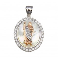 Wholesale Sterling Silver 925 Synthetic Mother of Pearl Two-Toned St. Jude Oval Medallion Pendant - GMP00060RHR