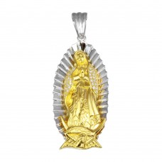 Wholesale Sterling Silver 925 2 Toned Plated Lady of Guadalupe CZ Pendant 52mm - GMP00063RG