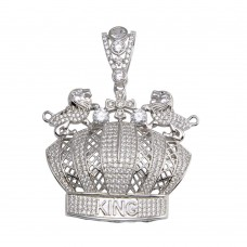 Wholesale Sterling Silver 925 Crown King CZ Pendant - GMP00072