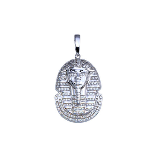 Wholesale Sterling Silver 925 Rhodium Plated CZ Egyptian Pharaoh Pendant - GMP00095