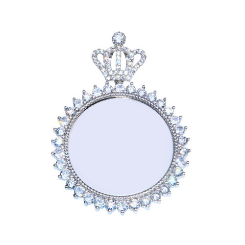 Wholesale Sterling Silver 925 Rhodium Plated CZ Crown Mirror Pendant - GMP00099