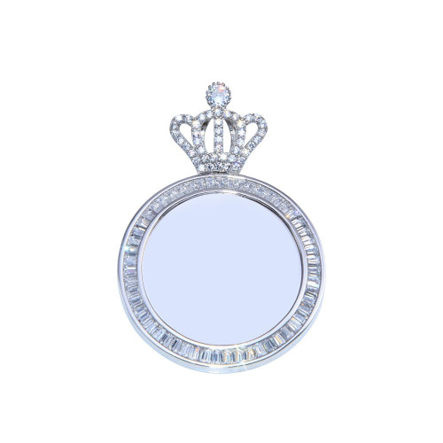 Wholesale Sterling Silver 925 Rhodium Plated CZ Crown Mirror Pendant - GMP00100