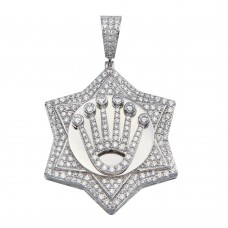 Wholesale Sterling Silver 925 Crown Medallion CZ Pendant - GMP00073