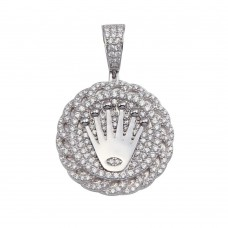Wholesale Sterling Silver 925 Crown Medallion CZ Pendant - GMP00074