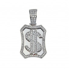 Wholesale Sterling Silver 925 Dollar Sign CZ Pendant - GMP00075