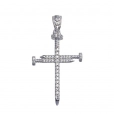 Wholesale Sterling Silver 925 Nail Cross CZ Pendant - GMP00077