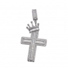 Wholesale Sterling Silver 925 Crowned Cross CZ Hip Hop Pendant - GMP00078
