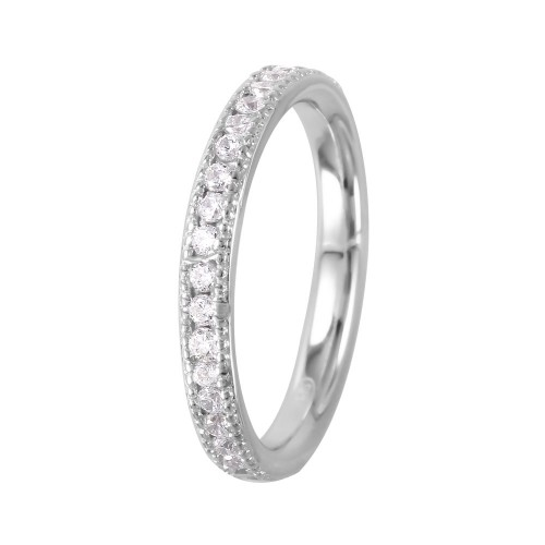 Wholesale Sterling Silver 925 Rhodium Plated Channel Set CZ Band - GMR00065