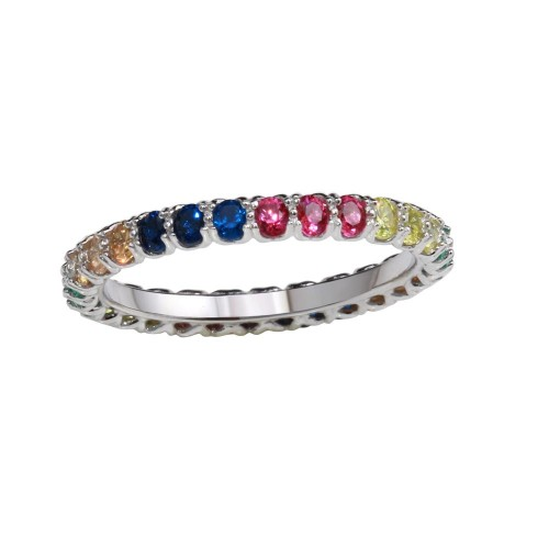 Wholesale Sterling Silver 925 Rhodium Plated Multi-Colored Round CZ Stone Rings - GMR00066RBC