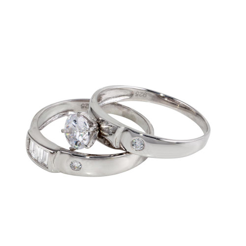 Wholesale Sterling Silver 925 Rhodium Plated Double Stack CZ Ring - GMR00118