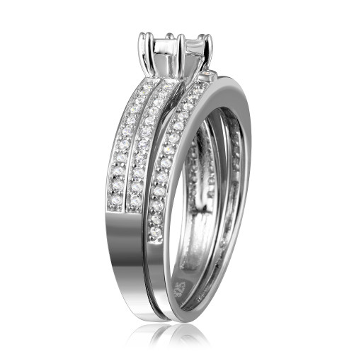 Wholesale Sterling Silver 925 Rhodium Plated Muiti Row Clear CZ Band - GMR00122