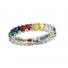 Wholesale Sterling Silver 925 Rhodium Plated Multi-Colored Heart CZ Stone Rings - GMR00138RBC