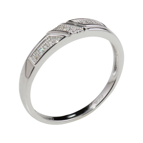 Wholesale Mens Sterling Silver 925 Rhodium Plated Small Wedding Band Ring with CZ - GMR00173