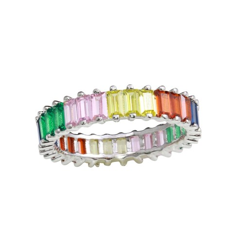 Wholesale Sterling Silver 925 Rhodium Plated Multi-Colored Rectangular CZ Stone Ring - GMR00208RBC