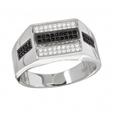 Sterling Silver 2 Toned Rhodium Plated Black And Clear CZ Men's Ring - GMR00216RB