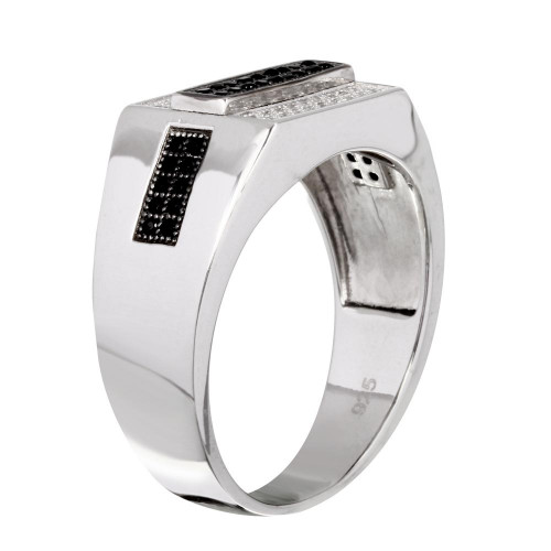 Wholesale Sterling Silver 925 Rhodium Plated Rectangle Black and Clear CZ Ring - GMR00216RB