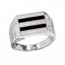 Sterling Silver 2 Toned Rhodium Plated Black Enamel CZ Men's Ring - GMR00217