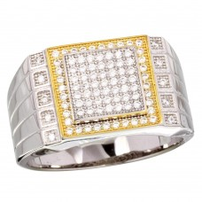 Sterling Silver 2 Toned Rhodium Plated Square CZ Encrusted Men's Ring - GMR00218RG