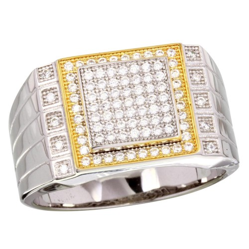 Wholesale Sterling Silver 925 2 Toned Rhodium Plated Square CZ Encrusted Men's Ring - GMR00218RG