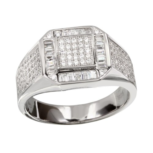 Wholesale Men's Sterling 925 Silver Rhodium Plated Square CZ Ring - GMR00219