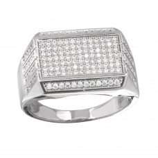 Men's Sterling Silver Rectangular Ring with CZ - GMR00220